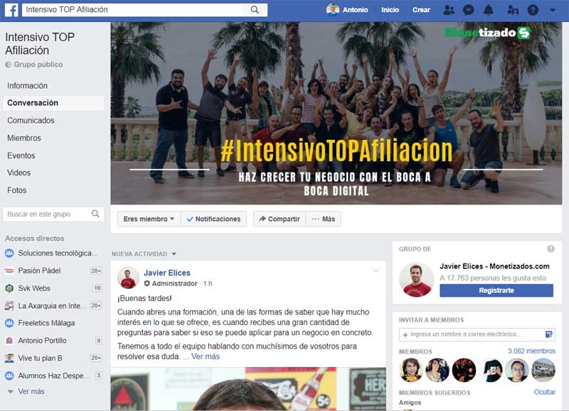 Grupo Facebook Intensivo Top Afiliación